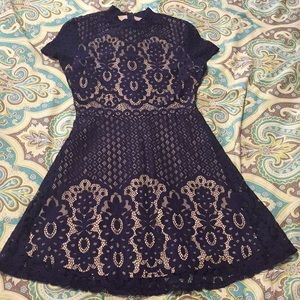 Dresses & Skirts - Blue and nude lace fit and flair dress